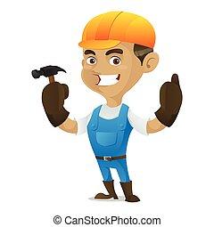 Handyman sosteniendo martillo