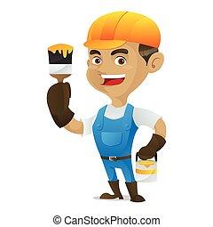 Handyman sosteniendo pincel
