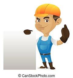 Handyman sosteniendo una señal en blanco