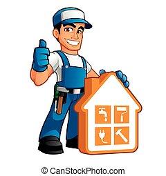 Handyman usando ropa de trabajo