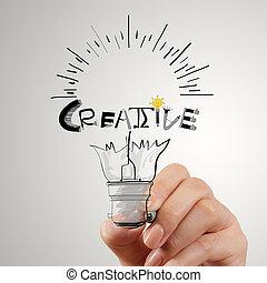 Hannd dibujando bombilla y diseño de palabras CREATIVE como concepto