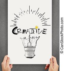 Hannd muestra bombilla y diseño de palabras CREATIVE en el fondo de papel como concepto