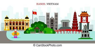 Hanoi, Hoan Kiem Lake, puntos de referencia de Vietnam