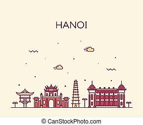 Hanoi skyline, vector de Vietnam estilo ciudad