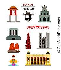 Hanoi vietnam coloca objetos de construcción de arquitectura