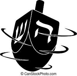 hanukkah, girar, vector, líneas, cartas, aislado, negro, fondo blanco, ilustración, dreidel