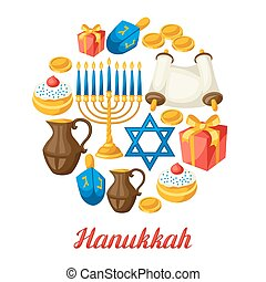 hanukkah, judío, objetos, feriado, tarjeta, celebración