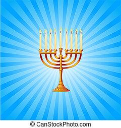 hanukkah, menorah, plano de fondo