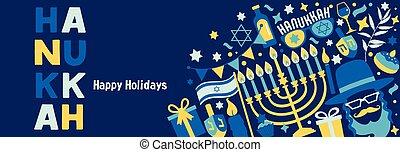 hanukkah, symbols., bandera, feriado, judío, tradicional, conjunto, tela, invitación, chanukah, azul oscuro