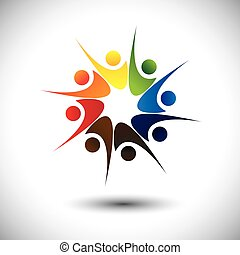 happiness., concepto, y, alegría, empleados, compartir, amigos, o, feliz