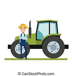 Happy Farmer parado junto al nuevo tractor. Máquinas para la agricultura. El trabajador de las plantaciones o en el jardín.
