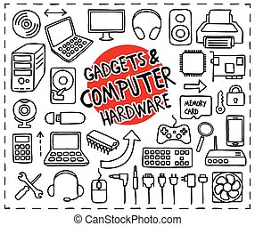 hardware, garabato, iconos, computadora
