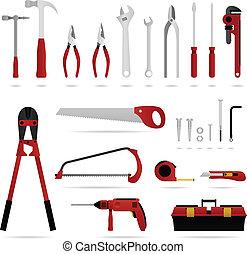 hardware, herramienta, conjunto, vector