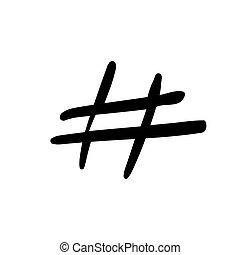 Hashtag señal de vector de icono ilustración de fondo blanco