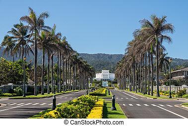 hawai, último, camino, abajo, templo, iglesia, laie, día, hacia, oahu, santos, vista