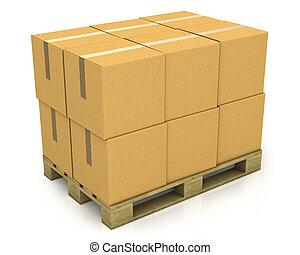 Hay cajas de cartón en un palillo