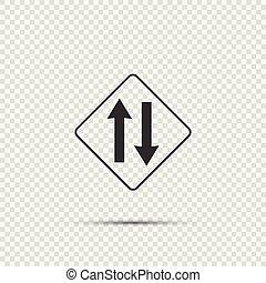 Hay dos vías de tráfico por delante en el fondo transparente