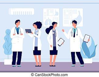 healthcare., equipo, hospital., ilustración, enfermería, hablar, vector, doctors, personal, trabajando, clínica médica, sonriente
