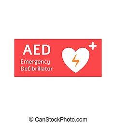 heart., desfibrilador, blanco, externo, bandera, rojo, automatizado