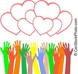 heart., multicolor, saludos, manos de valor en cartera, tarjeta
