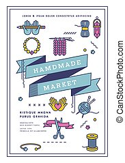 hechaa mano, cartel, artes, tools., arte, vector, fiesta, ilustración, taller, poster., justo, mercado