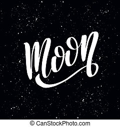 hechaa mano, ilustración, moon., caligrafía, grande, acción, vector