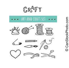 Hecho a mano, iconos de taller de artesanía. Ilustraciones dibujadas a mano