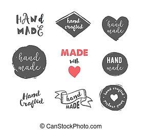 Hecho a mano, taller de artesanías, hecho con iconos de amor