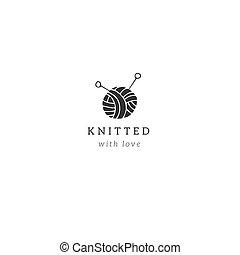 Hecho a mano y tejiendo tema. Logotipo vectorial dibujado a mano con una bola de hilo.