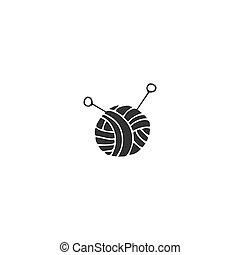 Hecho a mano y tejiendo tema. Logotipo vectorial dibujado a mano, una bola de hilo.