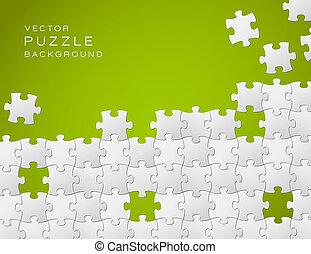 hecho, artículos del rompecabezas, vector, fondo verde, blanco