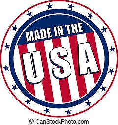 hecho, circular, calcomanías, estados unidos de américa