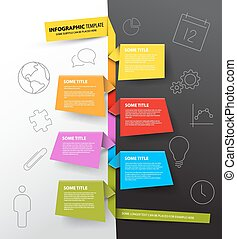 hecho, colorido, timeline, infographic, plantilla, papeles, informe
