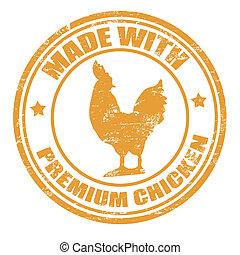 Hecho con estampilla de pollo