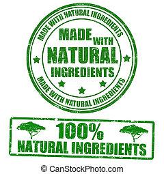 Hecho con ingredientes naturales, sellos