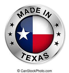Hecho en placa de plata de Texas