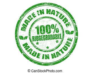 Hecho en sello de la naturaleza