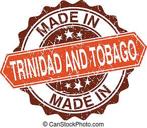 Hecho en Trinidad y Tobago sello vintage aislados en fondo blanco