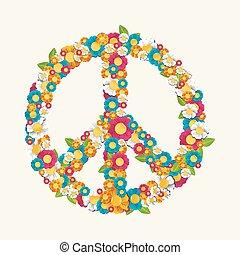 hecho, eps10, símbolo, paz, aislado, composición, flores, file.
