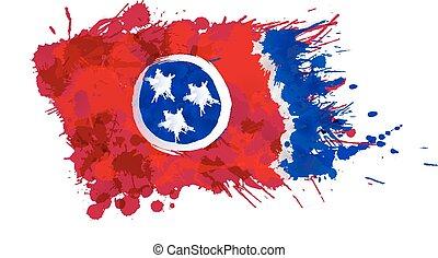 hecho, estados unidos de américa, colorido, tennessee, bandera, salpicaduras
