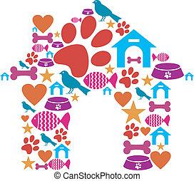hecho, mascota, forma, conjunto, perrera, icono