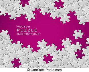 hecho, púrpura, artículos del rompecabezas, vector, plano de fondo, blanco