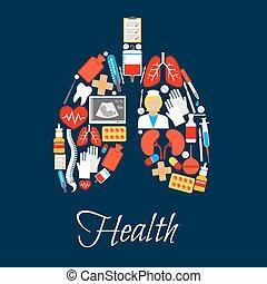hecho, pulmones, iconos, médico, medicina, o