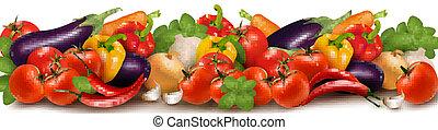 hecho, verduras frescas, bandera
