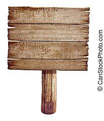 hecho, viejo, de madera, aislado, señal, madera, white., board., poste, camino, panel