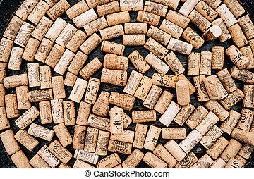 hecho, vino, corchos, círculo, de madera, texture., botellas