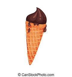 Helado de chocolate en un cono de gofre. Ilustración de vectores sobre fondo blanco.