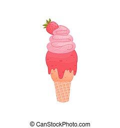 Helado de rosa en una taza de gofre... ilustración de vectores sobre fondo blanco.