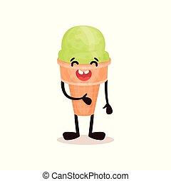 Helado en cono de gofre con cara sonriente, divertido dibujo animado de postre vector de personaje ilustración en un fondo blanco