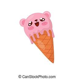 Helado rosa en cono de gofre, caricatura de caricatura de caricatura de Kawaii vector de ilustración en un fondo blanco